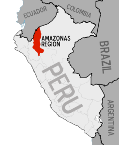 Map showing Amazonas region of Peru