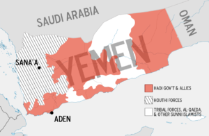 Map of showing control of Yemeni regions