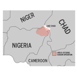 Map showing region of Boko Haram operations.
