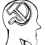 Profile of a head with sickle and hammer inside