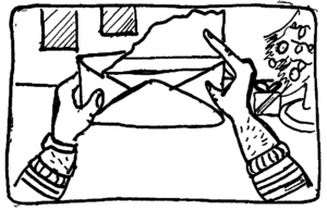 Illustration of letter being opened